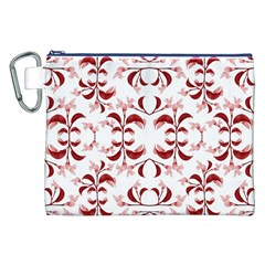 Floral Print Modern Pattern in Red and White Tones Canvas Cosmetic Bag (XXL)