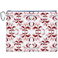 Floral Print Modern Pattern in Red and White Tones Canvas Cosmetic Bag (XXXL)