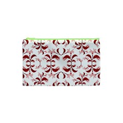 Floral Print Modern Pattern in Red and White Tones Cosmetic Bag (XS)