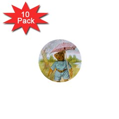 Vintage Drawing: Teddy Bear In The Rain 1  Mini Button (10 Pack)