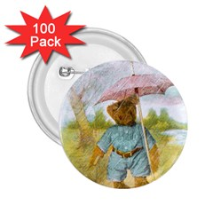 Vintage Drawing: Teddy Bear In The Rain 2 25  Button (100 Pack)