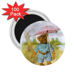Vintage Drawing: Teddy Bear In The Rain 2 25  Button Magnet (100 Pack)