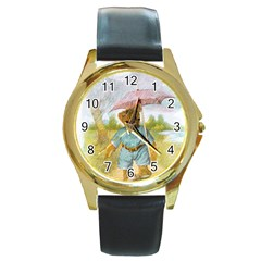 Vintage Drawing: Teddy Bear In The Rain Round Leather Watch (gold Rim)