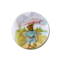 Vintage Drawing: Teddy Bear In The Rain Drink Coaster (round)