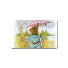 Vintage Drawing: Teddy Bear In The Rain Magnet (name Card)