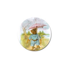 Vintage Drawing: Teddy Bear In The Rain Golf Ball Marker 4 Pack