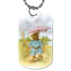 Vintage Drawing: Teddy Bear In The Rain Dog Tag (two Sided)