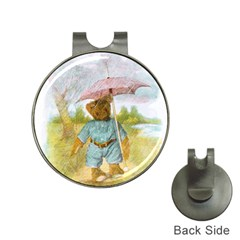 Vintage Drawing: Teddy Bear In The Rain Hat Clip With Golf Ball Marker