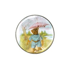 Vintage Drawing: Teddy Bear In The Rain Golf Ball Marker (for Hat Clip)