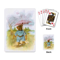 Vintage Drawing: Teddy Bear In The Rain Playing Cards Single Design