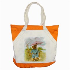 Vintage Drawing: Teddy Bear In The Rain Accent Tote Bag