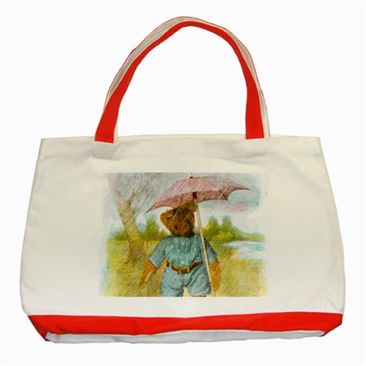 Vintage Drawing: Teddy Bear in the Rain Classic Tote Bag (Red)