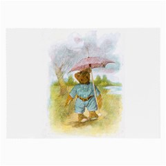 Vintage Drawing: Teddy Bear In The Rain Glasses Cloth (large, Two Sided)