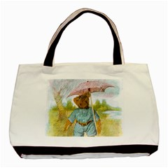 Vintage Drawing: Teddy Bear In The Rain Twin Sided Black Tote Bag
