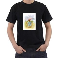 Vintage Drawing: Teddy Bear In The Rain Men s T Shirt (black)
