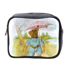 Vintage Drawing: Teddy Bear In The Rain Mini Travel Toiletry Bag (two Sides)