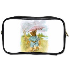 Vintage Drawing: Teddy Bear In The Rain Travel Toiletry Bag (one Side)