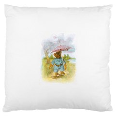 Vintage Drawing: Teddy Bear In The Rain Large Cushion Case (single Sided)