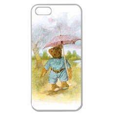 Vintage Drawing: Teddy Bear In The Rain Apple Seamless Iphone 5 Case (clear)