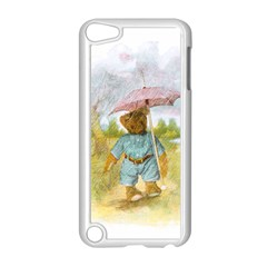 Vintage Drawing: Teddy Bear in the Rain Apple iPod Touch 5 Case (White)