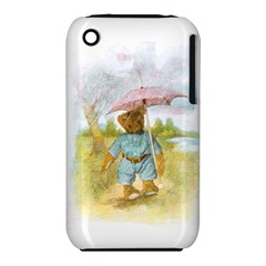 Vintage Drawing: Teddy Bear In The Rain Apple Iphone 3g/3gs Hardshell Case (pc+silicone)