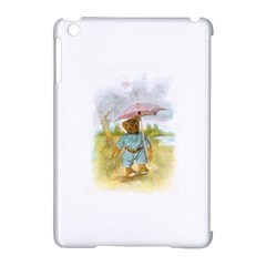 Vintage Drawing: Teddy Bear In The Rain Apple Ipad Mini Hardshell Case (compatible With Smart Cover)