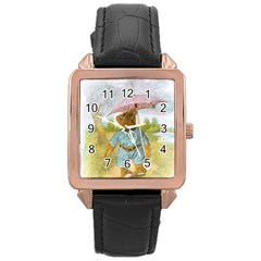 Vintage Drawing: Teddy Bear In The Rain Rose Gold Leather Watch
