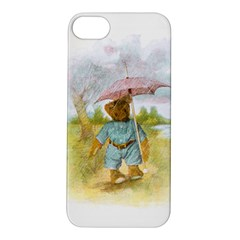 Vintage Drawing: Teddy Bear in the Rain Apple iPhone 5S Hardshell Case