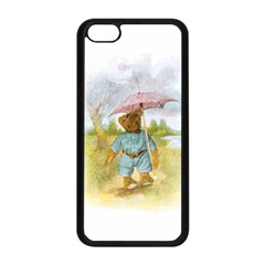 Vintage Drawing: Teddy Bear In The Rain Apple Iphone 5c Seamless Case (black)