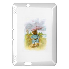 Vintage Drawing: Teddy Bear in the Rain Kindle Fire HDX Hardshell Case