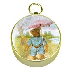 Vintage Drawing: Teddy Bear In The Rain Gold Compass