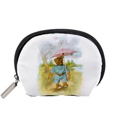 Vintage Drawing: Teddy Bear in the Rain Accessory Pouch (Small)