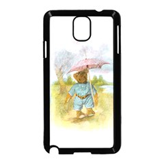 Vintage Drawing: Teddy Bear in the Rain Samsung Galaxy Note 3 Neo Hardshell Case (Black)