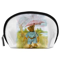 Vintage Drawing: Teddy Bear in the Rain Accessory Pouch (Large)
