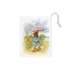 Vintage Drawing: Teddy Bear in the Rain Drawstring Pouch (Small)