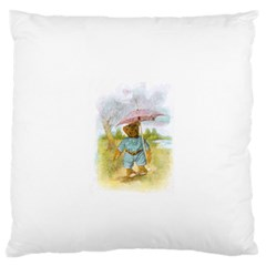 Vintage Drawing: Teddy Bear in the Rain Standard Flano Cushion Case (Two Sides)