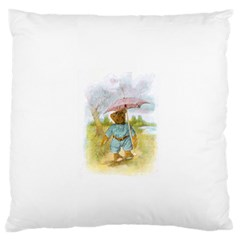 Vintage Drawing: Teddy Bear in the Rain Large Flano Cushion Case (One Side)