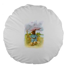 Vintage Drawing: Teddy Bear in the Rain 18  Premium Flano Round Cushion