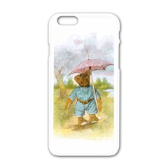 Vintage Drawing: Teddy Bear In The Rain Apple Iphone 6 White Enamel Case