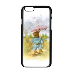 Vintage Drawing: Teddy Bear in the Rain Apple iPhone 6 Black Enamel Case