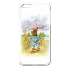 Vintage Drawing: Teddy Bear in the Rain Apple iPhone 6 Plus Enamel White Case