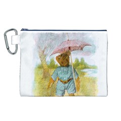 Vintage Drawing: Teddy Bear in the Rain Canvas Cosmetic Bag (Large)