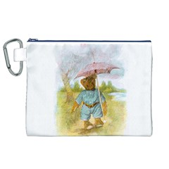 Vintage Drawing: Teddy Bear in the Rain Canvas Cosmetic Bag (XL)
