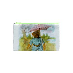 Vintage Drawing: Teddy Bear In The Rain Cosmetic Bag (xs)