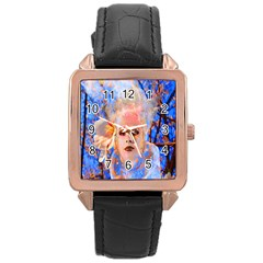 Magic Flower Rose Gold Leather Watch