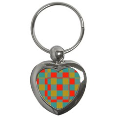 Squares In Retro Colors Key Chain (heart)