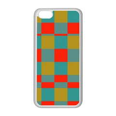 Squares in retro colors Apple iPhone 5C Seamless Case (White)