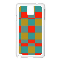 Squares In Retro Colors Samsung Galaxy Note 3 N9005 Case (white)