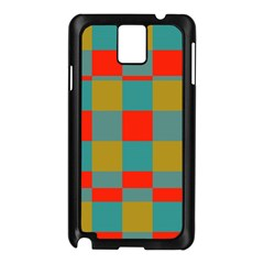 Squares in retro colors Samsung Galaxy Note 3 N9005 Case (Black)