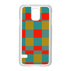 Squares in retro colors Samsung Galaxy S5 Case (White)